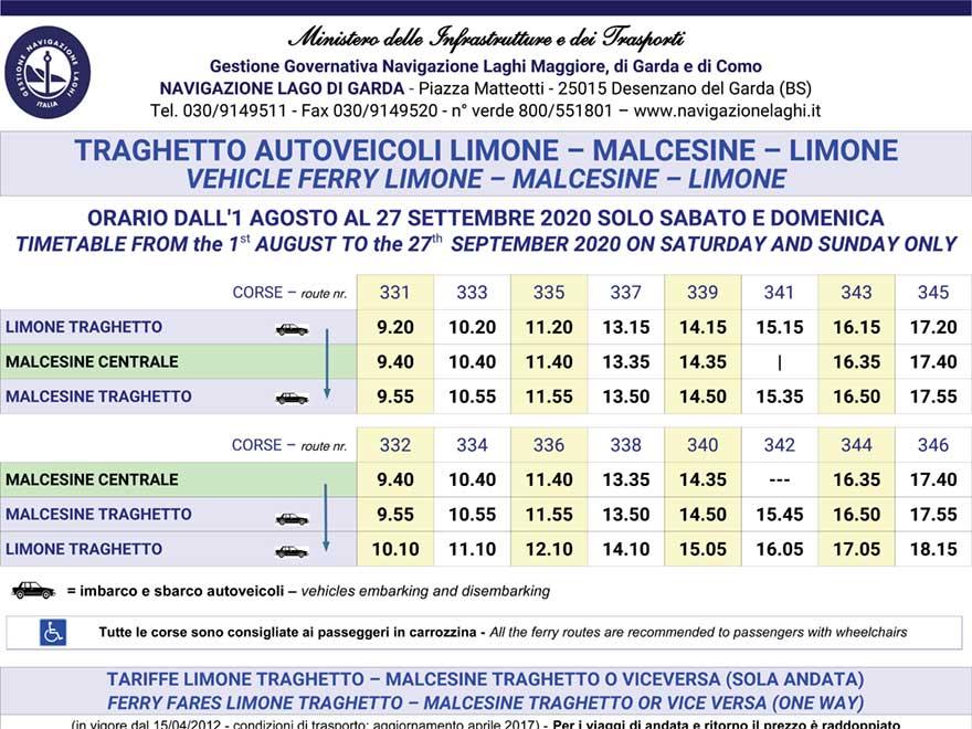 Fahrpläne und Preise Schifffahrt LIMONE – MALCESINE – LIMONE