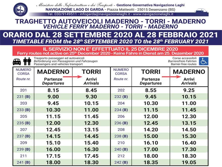 Schifffahrt auf dem Gardasee. Torri Maderno 2020 - 2021