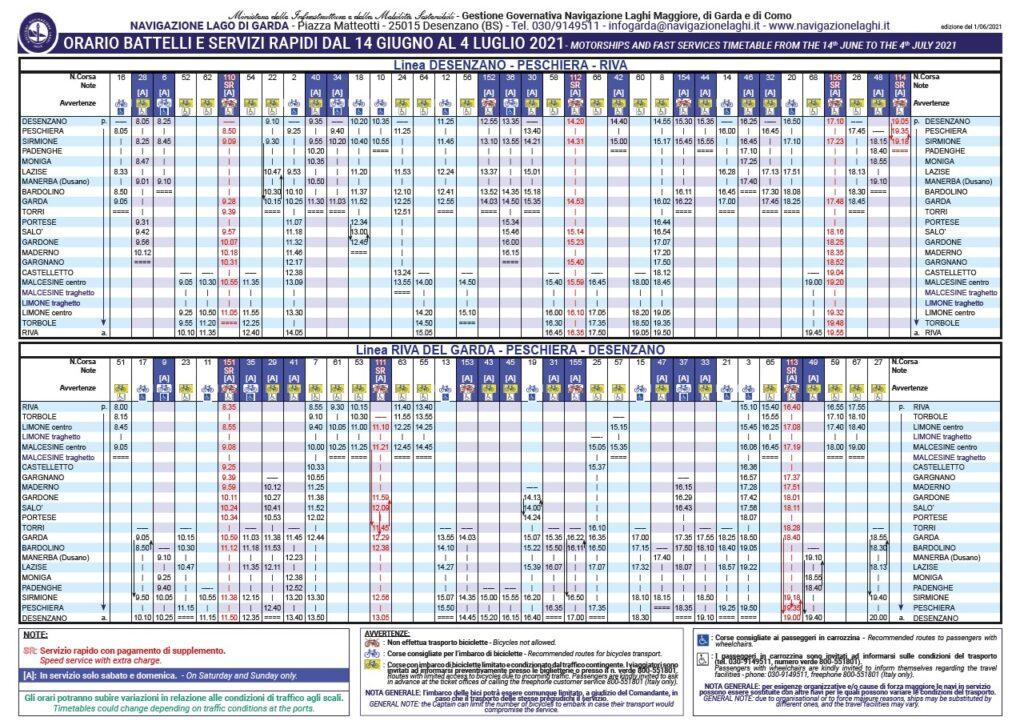 Fahrplan Schiffe und schnelle Dienstleistungen Gardasee. PDF