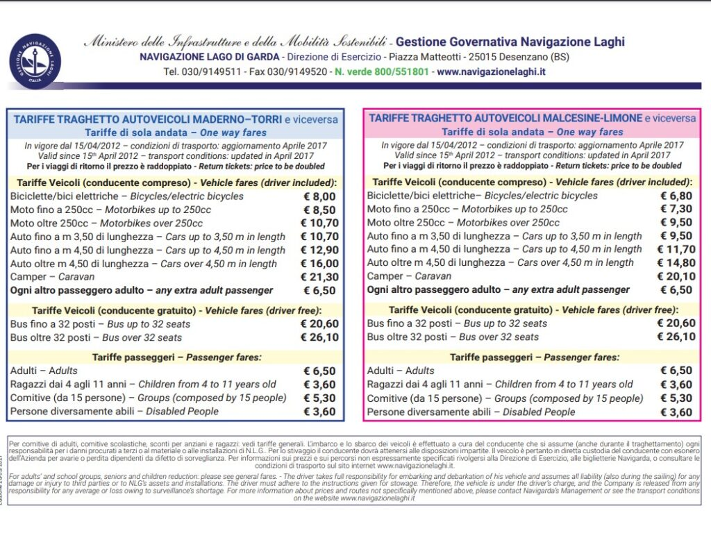 Preise Schifffahrt Torri del Benaco – Toscolano Maderno und Limone-Malcesine-Limone sul Garda.
